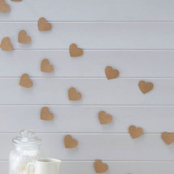 Vintage Affair Kraft Heart Bunting - 5 metre